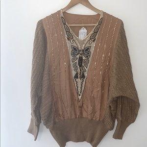 Boutique Boho Beaded Butterfly Knit Silk Sweater